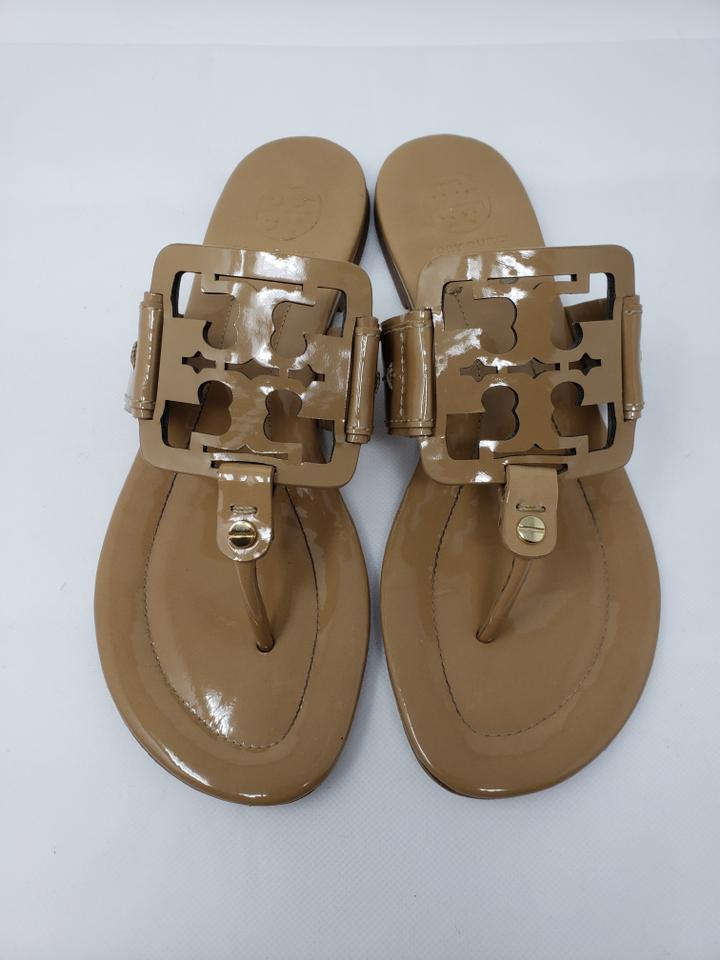 f8cf9e29622df Tory Burch Beige Patent Leather Square Miller Sandals Size US 7 ...