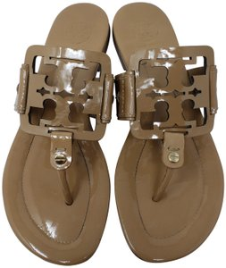 ac9a794079b6 Tory Burch Gold Hardware Miller Reva Logo Patent Leather Beige Sandals