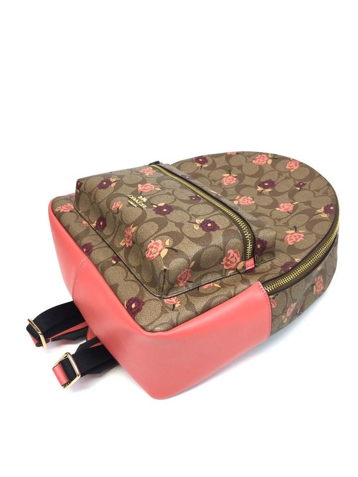 38f339a8d5 Coach Medium Charlie Signature with Tossed Peony Print Khaki Pink ...