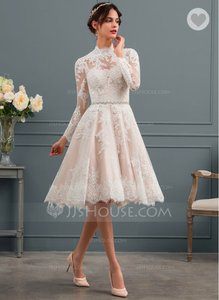 121e845a97f JJ s House White Tulle Lace A-line Illusion Knee-length Feminine Wedding  Dress Size