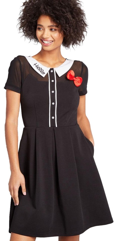 2c7caf71e2 Modcloth Black For Hello Kitty Cheerful Greeting Collared Casual Dress
