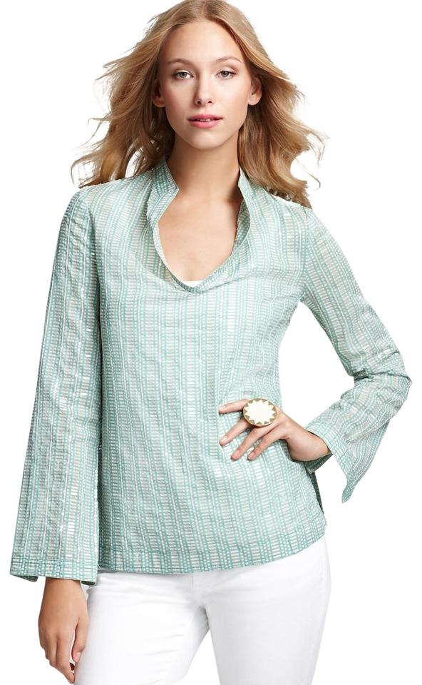 019c6433923 Tory Burch Green & White Stephanie Logo Print Sequin Tunic Size 12 ...