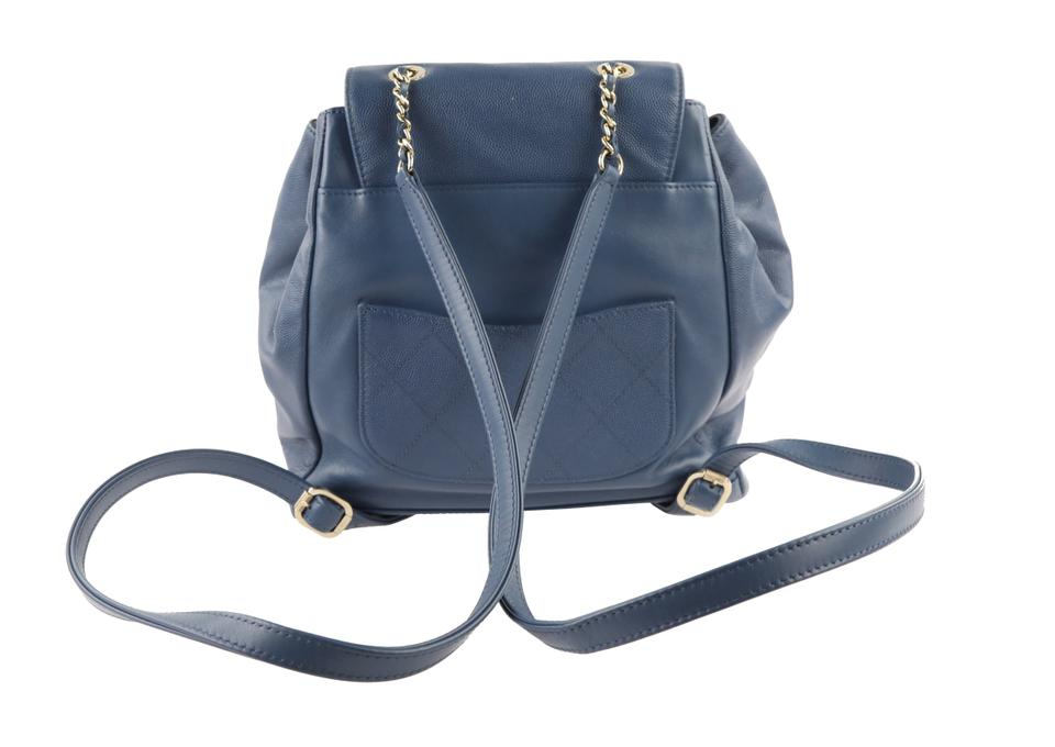 Chanel Business Affinity Blue Leather Backpack - Tradesy