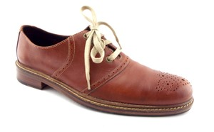 Cole Haan Brown Leather Medallion Toe Men's Oxfords Shoes