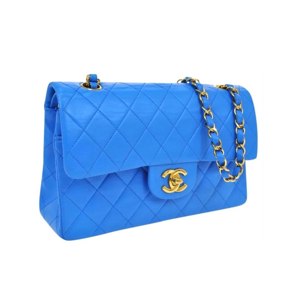 """7831a85ed859 Chanel Classic Flap 2.55 Reissue Vintage Small 9"""" Blue Lambskin ..."""