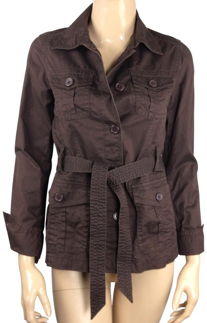 Item - Brown Classic Twill Chino Cotton Weathered Belted Jacket Size 2 (XS)