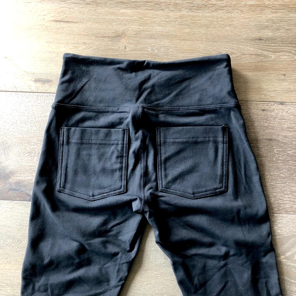 4bcce4d9436488 Athleta Faux Leather Pockets Street Tights Extra Small Petite black Leggings  Image 6. 1234567
