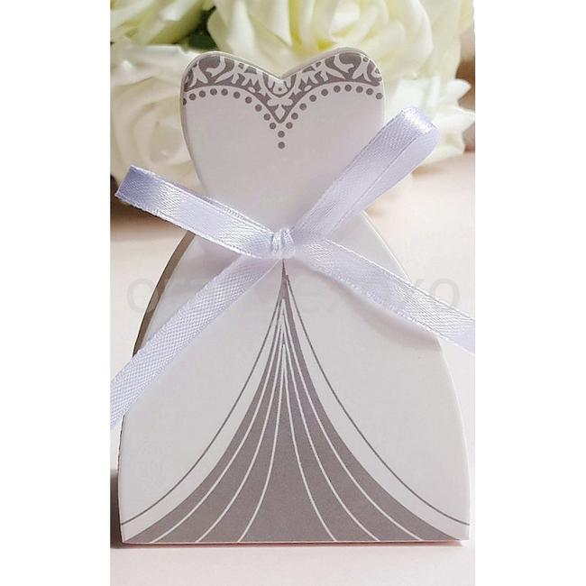 Item - White & Silver 25pc Bridal Dress Wedding Party Favor Gift Boxes