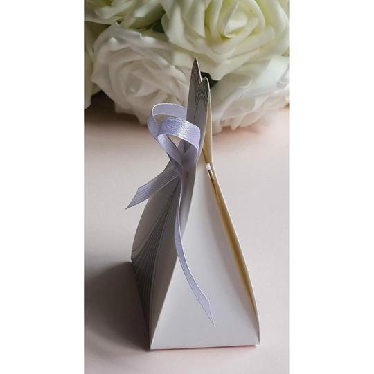 White & Silver 25pc Bridal Dress Wedding Party Favor Gift Boxes Image 1