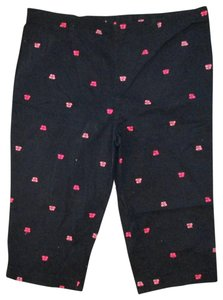 ae187ba5f0 White Stag Butterfly Embroidered Plus Size Stretch Spring Capris Black