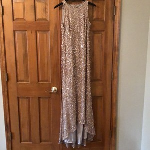 Adrianna Papell Gold Sequined High Neck Formal Bridesmaid/Mob Dress Size 10 (M)
