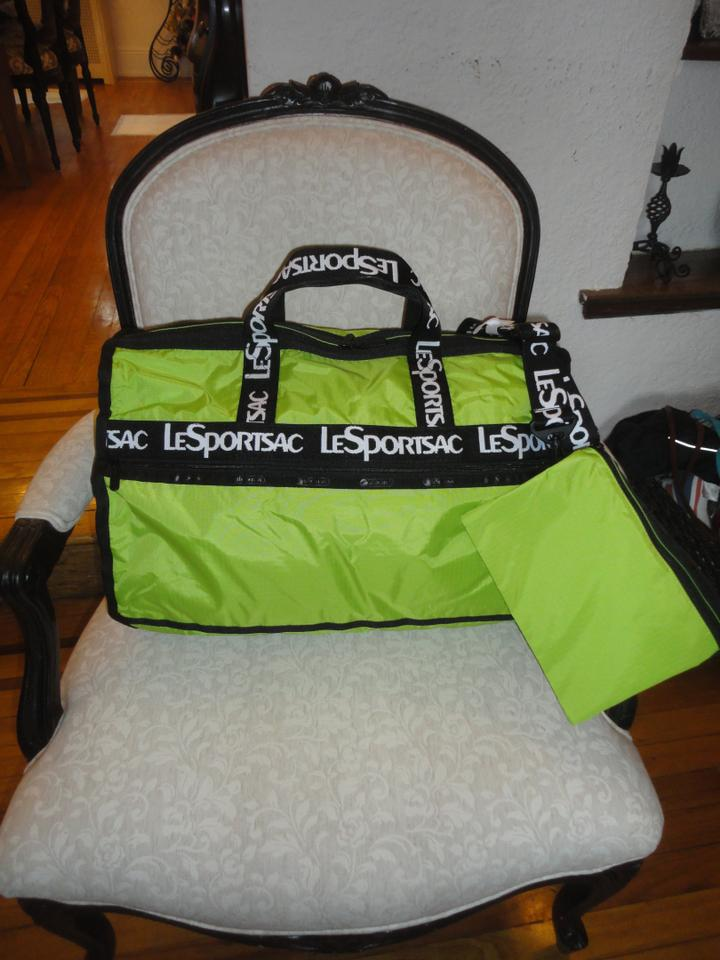 Lesportsac Duffle Candace Large Adorn Grey Acid Green Nylon Weekend Travel Bag 47 Off Retail