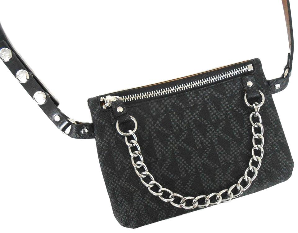 5009483521c0bf Michael Kors Fanny Pack Large Black Faux Leather Cross Body Bag ...