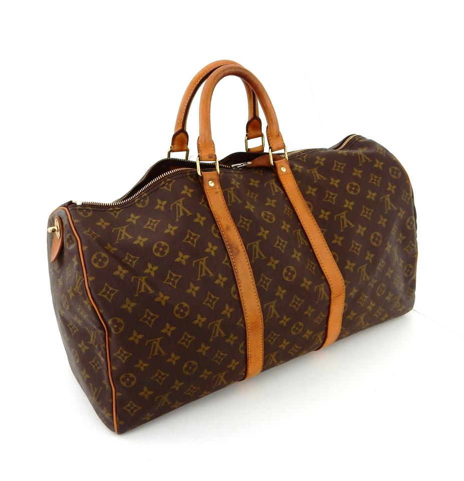 fc36c20795a Louis Vuitton Keepall Vintage 50 Duffel Luggage Brown Monogram ...