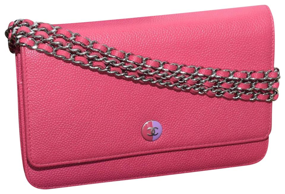 2d1992e4375f Chanel Wallet on Chain Classic Flap Timeless Mini Cc Button Logo Pink  Caviar Leather Cross Body Bag