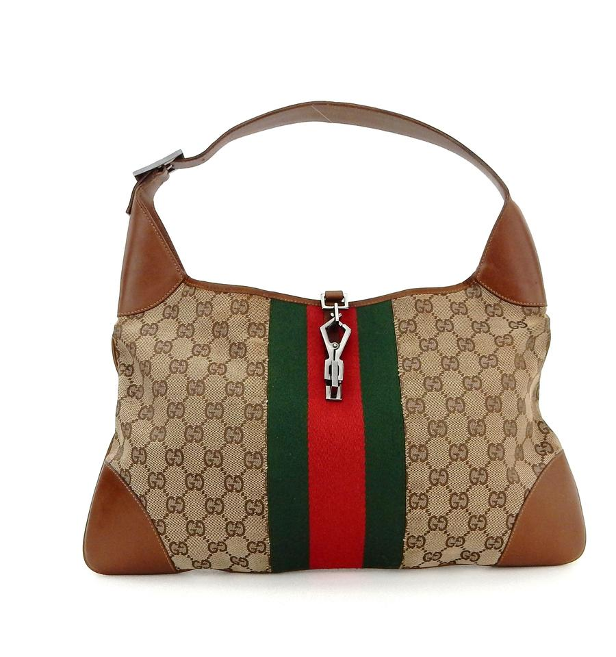5a6e4abcffb Gucci Jackie Brown Web Gg Monogram Canvas Leather Shoulder Bag - Tradesy