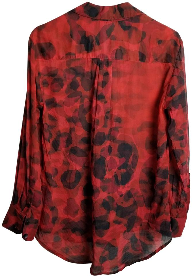 cb9dd78f Red and Black Button Front Blouse