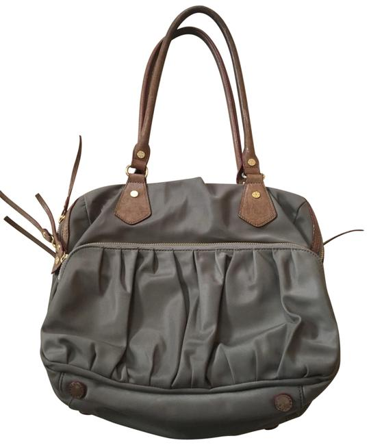 Item - With Italian Leather and Gold Hardware Taupe Nylon Satchel