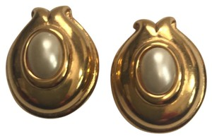 c123de7a31a5 Fendi Fendi yellow gold tone faux pearl earrings for pierced ears