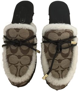Coach Shearling Beige and Tan Mules