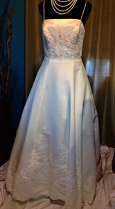 Social Occasions by Mon Cheri Off White & Peach Champagne Style # Ty20461r Formal Wedding Dress Size 12 (L)