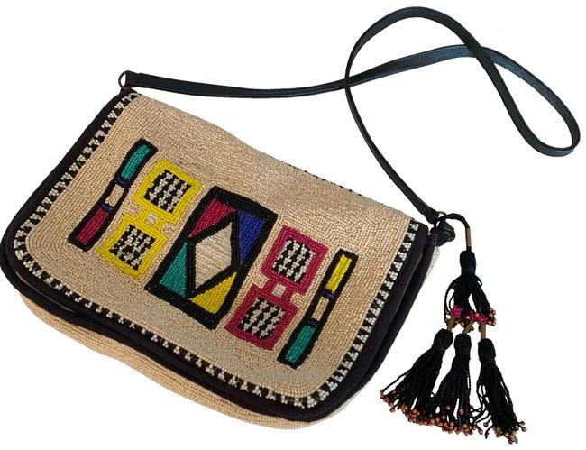 Item - Multi with Black Accents Beaded Cotton Trim and Lining Shoulder Bag