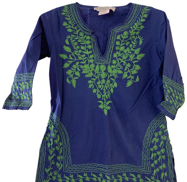 Item - Blue and Green Or Swim Coverup Tunic Size 2 (XS)