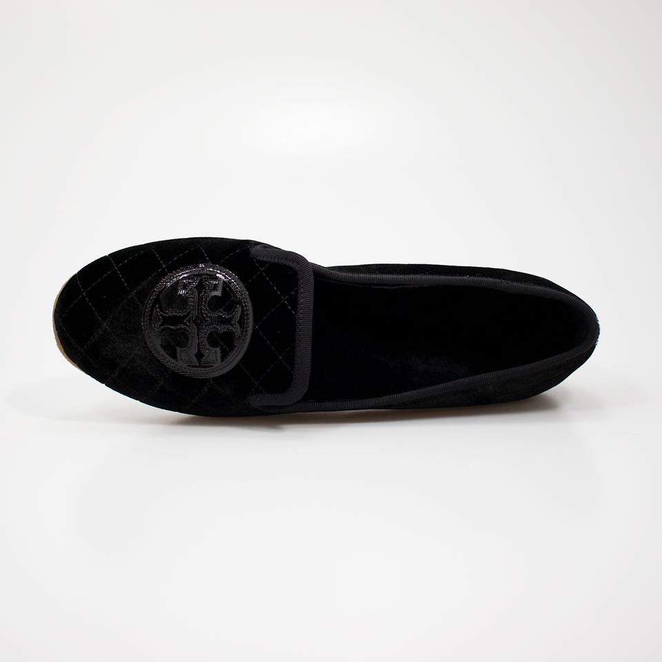 ae6cdb381 Tory Burch Black Quilted Billy Slipper Smart Velvet Leather Flats ...