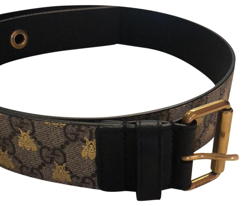 139443138 Gucci Brown Monogram with Gold Bees Belt - Tradesy