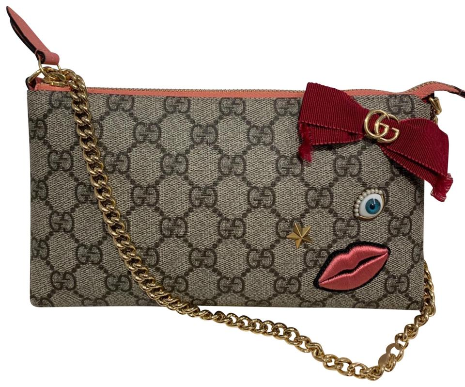 9cc313f63 Gucci Gg Supreme Embroidered Face Chain Wrist Wallet Pink Canvas Wristlet
