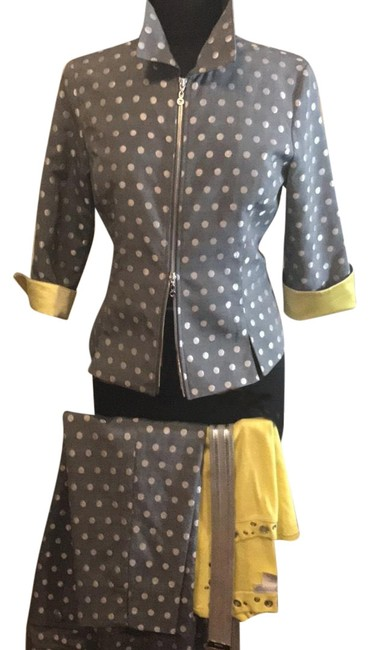 Item - Silver W Lined In Yellow Silk Top and Belt Pant Suit Size 6 (S)