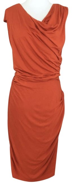 Item - Orange Bordeaux Los Angeles Given Then Gathered Column Mid-length Cocktail Dress Size 2 (XS)