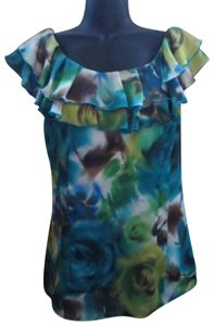 AB Studio Chiffon Abstract Floral Ruffled Summer Top Multicolored