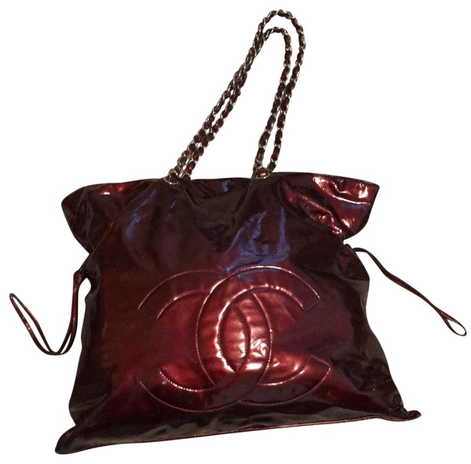 986be5afeeb3 Chanel Drawstring Bon Bon Bordeaux Burgundy Patent Leather Tote ...