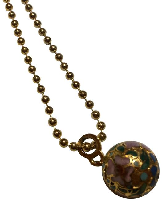 Item - Gold Cloisonné Flower Ball Long Chain Necklace