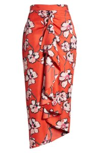 Lewit Floral Silk Ruffle Wrap Skirt Red