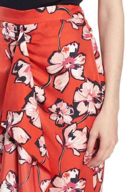 Lewit Floral Silk Ruffle Wrap Skirt Red Image 4