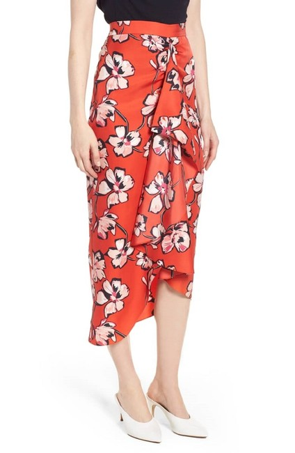 Lewit Floral Silk Ruffle Wrap Skirt Red Image 7