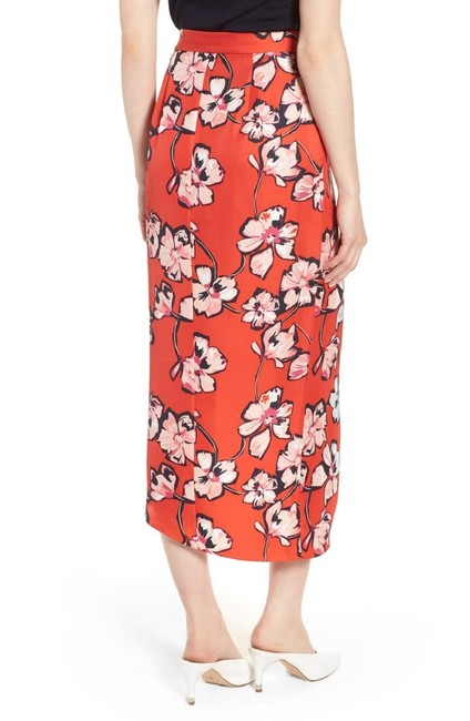 Lewit Floral Silk Ruffle Wrap Skirt Red Image 8