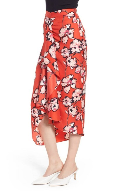 Lewit Floral Silk Ruffle Wrap Skirt Red Image 9