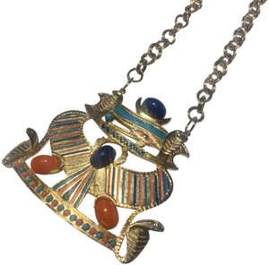 Vintage Vintage Egyptian gold colored scarab chain necklace