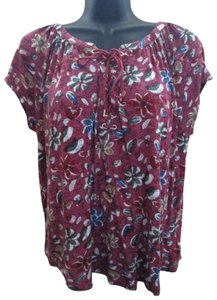 Chaps Maroon Floral Lace Up Spring Summer Top Multicolored