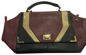 Calvin Klein Satchel in Maroon, Black and Gold
