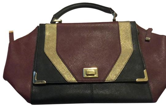 Calvin Klein Satchel in Maroon, Black and Gold Image 0