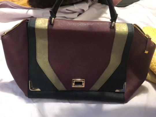 Calvin Klein Satchel in Maroon, Black and Gold Image 1