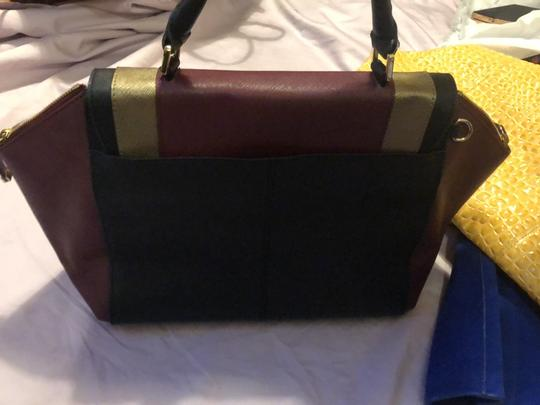 Calvin Klein Satchel in Maroon, Black and Gold Image 2