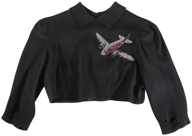 Item - Black 1940s Rayon Beaded Airplane Cropped Top Wwii Jacket Size 0 (XS)