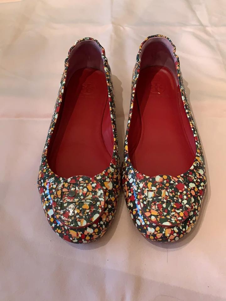 51022d43b0cd4 Tory Burch Multi-color Red Green  Yellow Minnie Travel Flats Size US ...