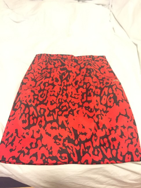 Preen by Thornton Bregazzi Leopard Print And Black Party Mini Skirt red Image 1