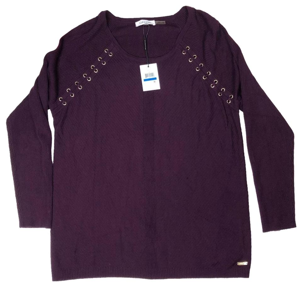 Calvin Klein Ribbed Lace Up Detail Long Sleeve Violet Purple Sweater